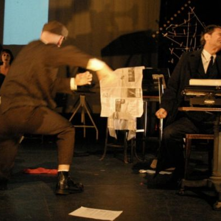 As Typewriter Man with Meghan McGeary and Andrew Dawson in The Blue Flower