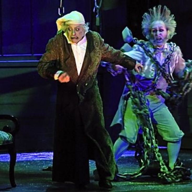 "As The Ghost of Jacob Marley with Jeremy Lawrence as Scrooge in ""A Christmas Carol"" at the Hanover Theatre. photo courtesy of the Worcester Telegram & Gazette (Paul Kapteyn photographer)"