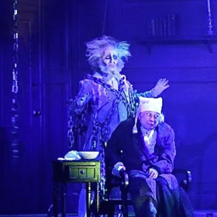 "As The Ghost of Jacob Marley with Jeremy Lawrence as Scrooge in ""A Christmas Carol"" at the Hanover Theatre."