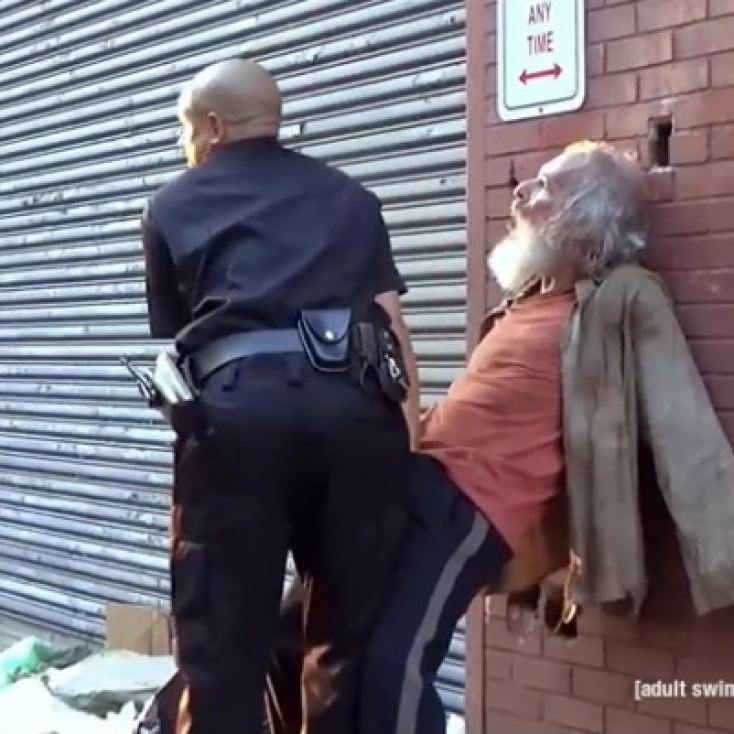 """As the homeless man with Eric André on """"The Eric André Show"""" on Adult Swim."""